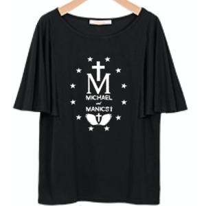袖フレアTシャツ<ブラック/ネイビー>